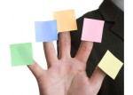 Five blank adhesive note reminders