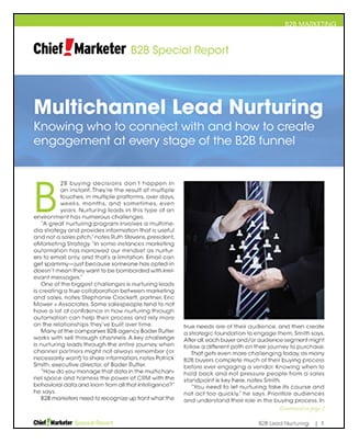 B2B Lead Nuturing Special Report Cover