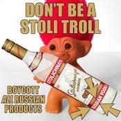 A poster encouraging a boycott of Stoli Vodka