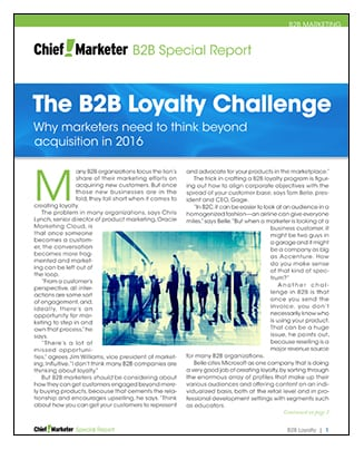 B2B Loyalty Challenge Special Report
