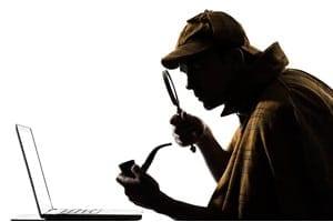 sherlock holmes laptop computer silhouette
