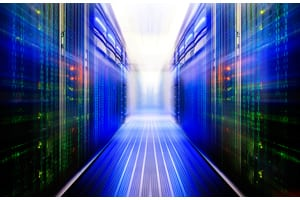 fantastic data center with a binary code penetrating supercomputers