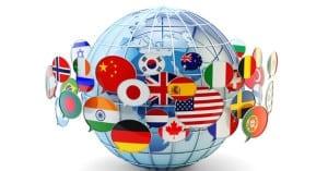 Global communication, international messaging and translation concept